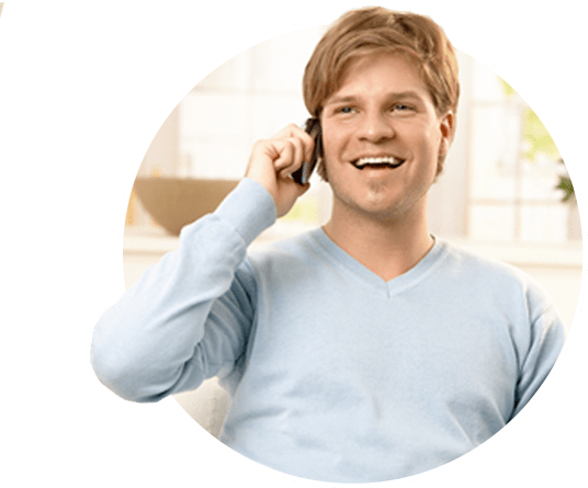 Man using a phone to call